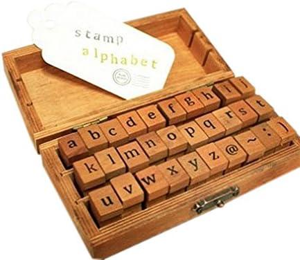 Demarkt Houten rubberen stempelset alfabet postzegels wijnoogsthout rubber voor doehetzelvers vakmanschap en scrapbooking 30 stuks per set