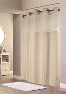 Hookless HBH40E258 Escape Shower Curtain With Snap In Liner Beige Stripe