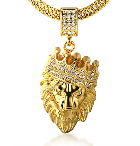"Price comparison product image Halukakah ""KINGS LANDING"" Men's 18k Real Gold Plated Crown Lion Pendant Necklace with FREE SharkTail Chain 30"""