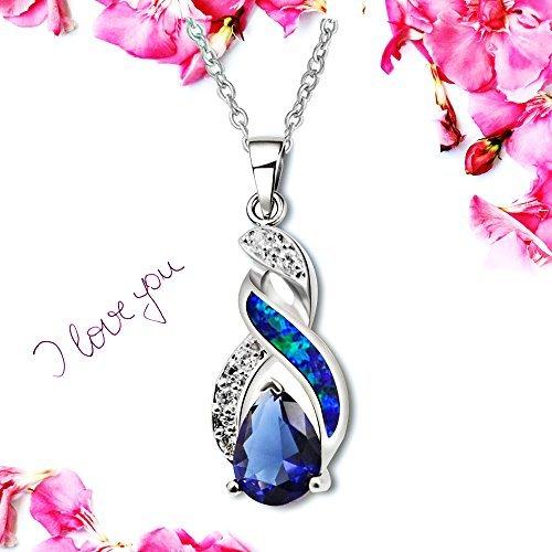 Sinlifu Charming Teardrop Sapphire Opal Topaz CZ Silver Plated Pendant Necklace Chain 18'' (Silver Sets: Blue Opal+Sapphire) by Sinlifu (Image #4)