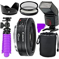 Professional Accessory Kit with Canon EF 40mm f/2.8 STM Lens & Professional Dedicated Digital TTL Flash + Bundle Package + for Canon EOS 7D Mark II, 60D, 70D, 80D, 6D, 5D Mark III Digital SLR Cameras