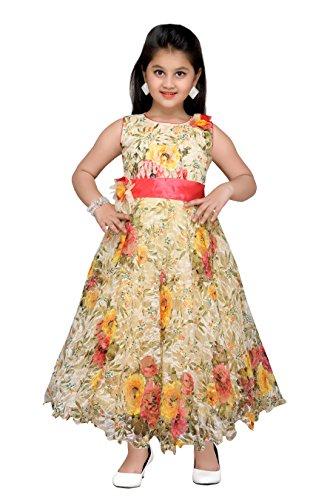 (ADIVA Girl's Indian Party Wear Gown for Kids (G-1774-LEMON-34))