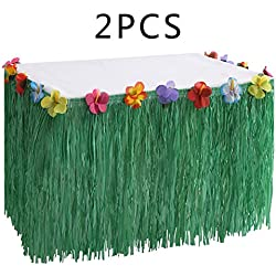 Hawaiian Luau Grass Table Skirt Decorations Hula - Hibiscus Tropical Pool Birthday Party Supplies (2 PCS)