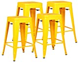 Poly and Bark Trattoria 24″ Counter Height Stool in Yellow (Set of 4) For Sale