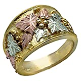 Landstroms Mens 10k Black Hills Gold Ring with Leaves and Grapes - MR279