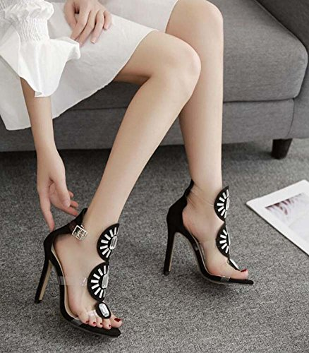 Party D'orsay Dress Belt Shoes Pump Toe Black OL Shoes 34 Size Open Ankel 11 Court Stiletto Eu Transparent Sexy 5cm 40 Rhinestone Women Shoes Colormatch Buckle Sandals xZwRYvqPY