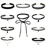 Jsfyou Black Velvet Choker Necklaces Set Gothic Tattoo Stretch Lace Choker Necklace with Pendant for Women Girls 4-10PCS