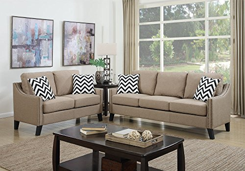 1PerfectChoice Modern 2 Pcs Sofa Couch Loveseat Nailhead Trim Arm Pillows Polyfiber Linen Sand