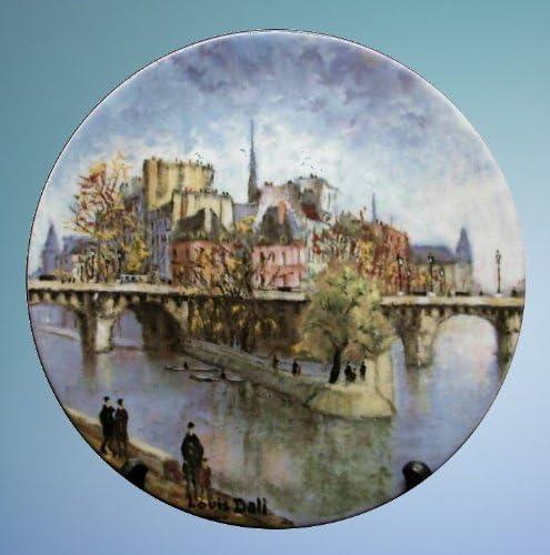 Stunning Collectible Plate Beautiful Scene of Paris By Louis Dali La Pointe du Vert Galant