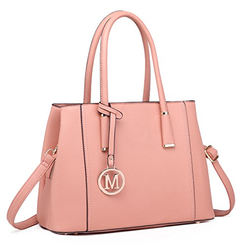 for Handle Handbag 1748 Handbags Shape Leather Look Top Lulu Pink V Design Elegant Shoulder Miss Women Fashion fpvOwq