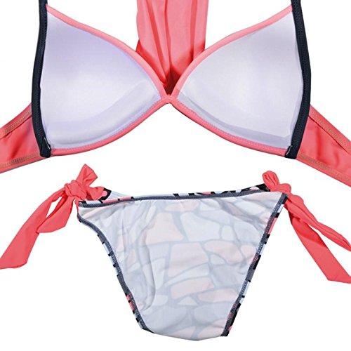 Vandot 2017 Moda Mujer Push-up Cruz Acolchado Bra Bikini Trajes de baño Triángulo Halter Tops y Brasileño Braguitas Juego de Dos Piezas, Color Caramelo de Rosa, Talla Grande S-XXL Cross 04
