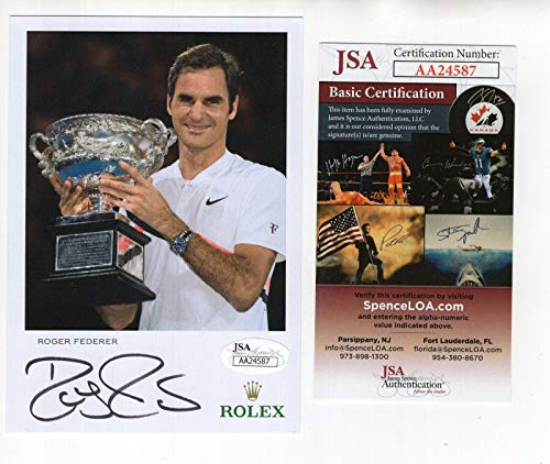 Roger Federer Autographed Photo - 4x6 GREAT POSE+ TROPHY COA - JSA Certified - Autographed Tennis ()