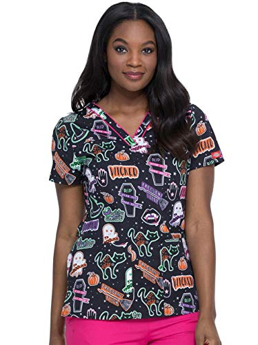 dickies EDS V-Neck Scrub Top, XS, Witchy Woman