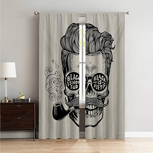 Mozenou Microfiber Window Panel Pair Light Curtain Indie,Hipster Gentleman Skull with Mustache Pipe and Eyeglasses with Inscription Vintage,Black Cream W84 x L96 Inch