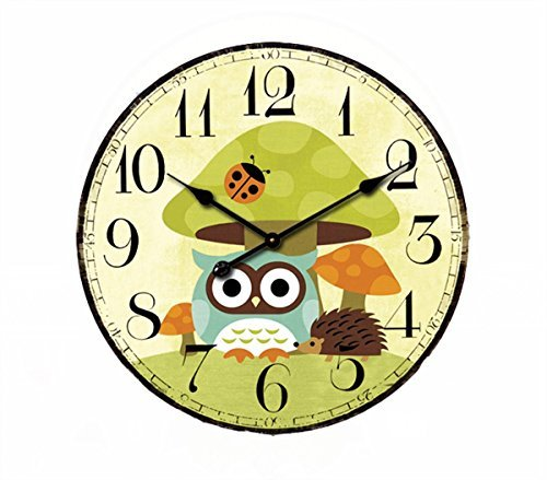 Cute Mushrooms Animal 12'' Wall Clock, Eruner Family Decoration French Country 12-Inch Wood Clock Painted Retro Style for Children's Room(Mushrooms, M2)