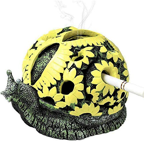 Rabbitroom Ashtrays for Cigarettes Outdoor Ashtray with Lid Resin Ash Holder for Indoor and Outdoor Home Office Decoration Creative Gift for Family and Friends (Snail)