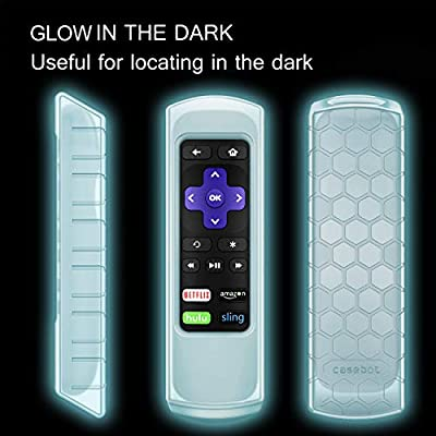 Fintie Protective Case for Roku Express, Roku Premiere RC68 RC69 RC108 RC112 Remote - Casebot (Honey Comb Series) Light Weight (Anti Slip) Shock Proof Silicone Remote Cover, Light Blue Glow: Home Audio & Theater