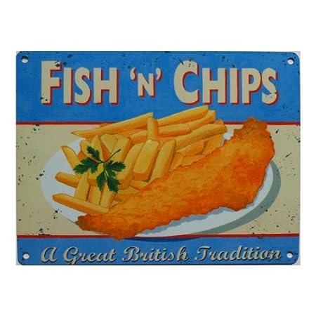 Plaque en métal design Fish and Chips - 200x150mm, Acier CambSigns