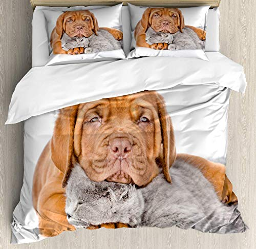 Bordeaux Comforter Set - Fantasy Star Comforter Bedding Set, Sad Bordeaux's Head on a Sleeping Kitten Home Decoration 4 Piece Duvet Cover Set Include 1 Flat Sheet 1 Duvet Cover and 2 Pillow Cases, Twin