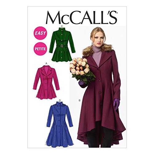 McCall Pattern Company M6800 Misses'/Miss Petite Lined Coats, Belt, Detachable Collar and Hood Sewing Template, Size A5 (6-8-10-12-14)