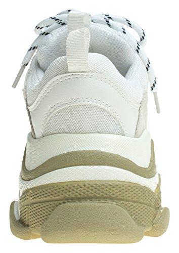 Annakastle Donne Di Colore Di Accento Basse Scarpe Scarpa Da Tennis Di Alta Moda In Pelle Beige + Bianco