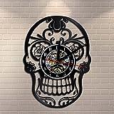 Sugar Skull Ornament Vinyl Wall Clock Flowers Skull Vintage Art Home Decor Quartz Decorative Clocks
