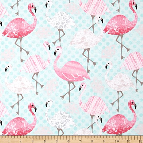 Timeless Treasures 0411298 Flamingos Aqua Fabric by The Yard
