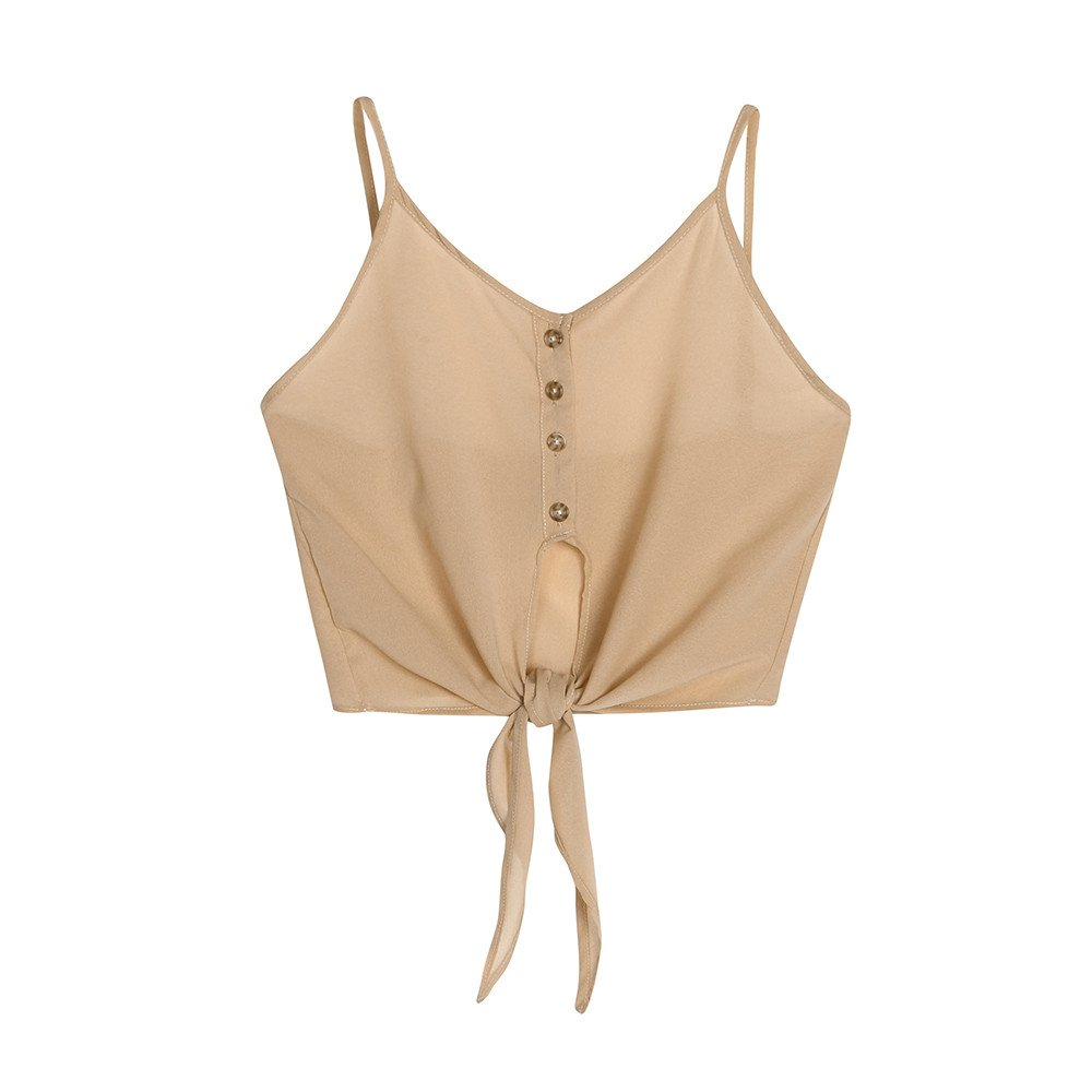 Mlide Women's Button Down V Neck Strappy Tank Top Crop Tops Tie Knot Front Loose Vest Tank Shirt,Khaki L