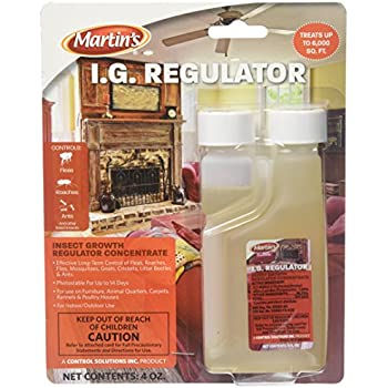 4 oz Martin's I.G. Regulator (IGR) Insect Growth Regulator Concentrate 1.3% Nylar ~ Effective Long-Term Control Of Fleas, Roaches, Flies, Mosquitoes, Gnats, Crickets, Litter Beetles & Ants ~~ Indoor & Outdoor Use Treats 6,000 SQ FT