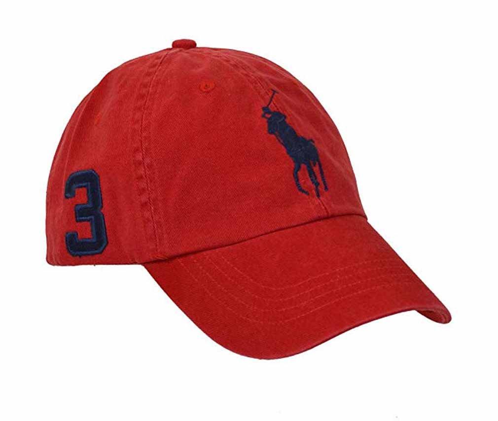 Polo Ralph Lauren Boys Big Pony Cap Hat (4-7, Red/Navy)