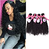 Punzel's 10-30 Inches Brazilian Virgin 7A 100% Human Hair Extensions, Pack of 4, 100g/Bundle, Curly Weft For Sale