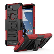 Nexus 6P Case, MoKo Shock Absorbing Hard Cover Ultra Protective Heavy Duty Case with Holster Belt Clip + Built-in Kickstand for Google Nexus 6P 5.7 Inch - Red