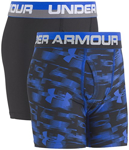 Under Armour Big Boys' 2 Pack Performance Boxer Briefs, Ultra Blue/Black, YLG