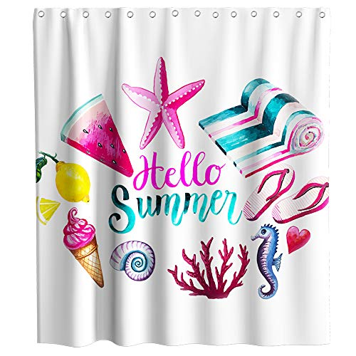 Lifeasy Ocean Shower Curtain Hello Summer Theme Starfish Fruits Fabric Bath Curtain Design Bathroom Accessories with Hooks Waterproof Washable 72 x 72 inches Purple Turquoise -