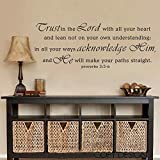 BATTOO Proverbs 3:5 ''Trust in the Lord with all your heart'' Bible Verse Vinyl Decal Wall Mural Christian Wall Sticker(Black, Large)