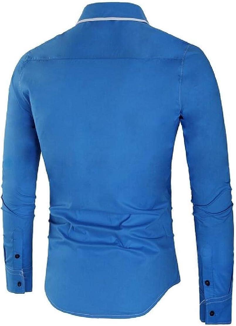 Hmarkt Mens Formal Lapel Cotton Solid Color Patchwork Slim Fit Stylish Button Up Shirts