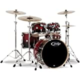Pacific Drums PDCM2215RB 5-Piece Drumset with Chrome Hardware - Red to Black Fade