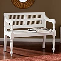 Southern Enterprises Cason Entryway Bench with Turned Legs, White Solid Mahogany Finish