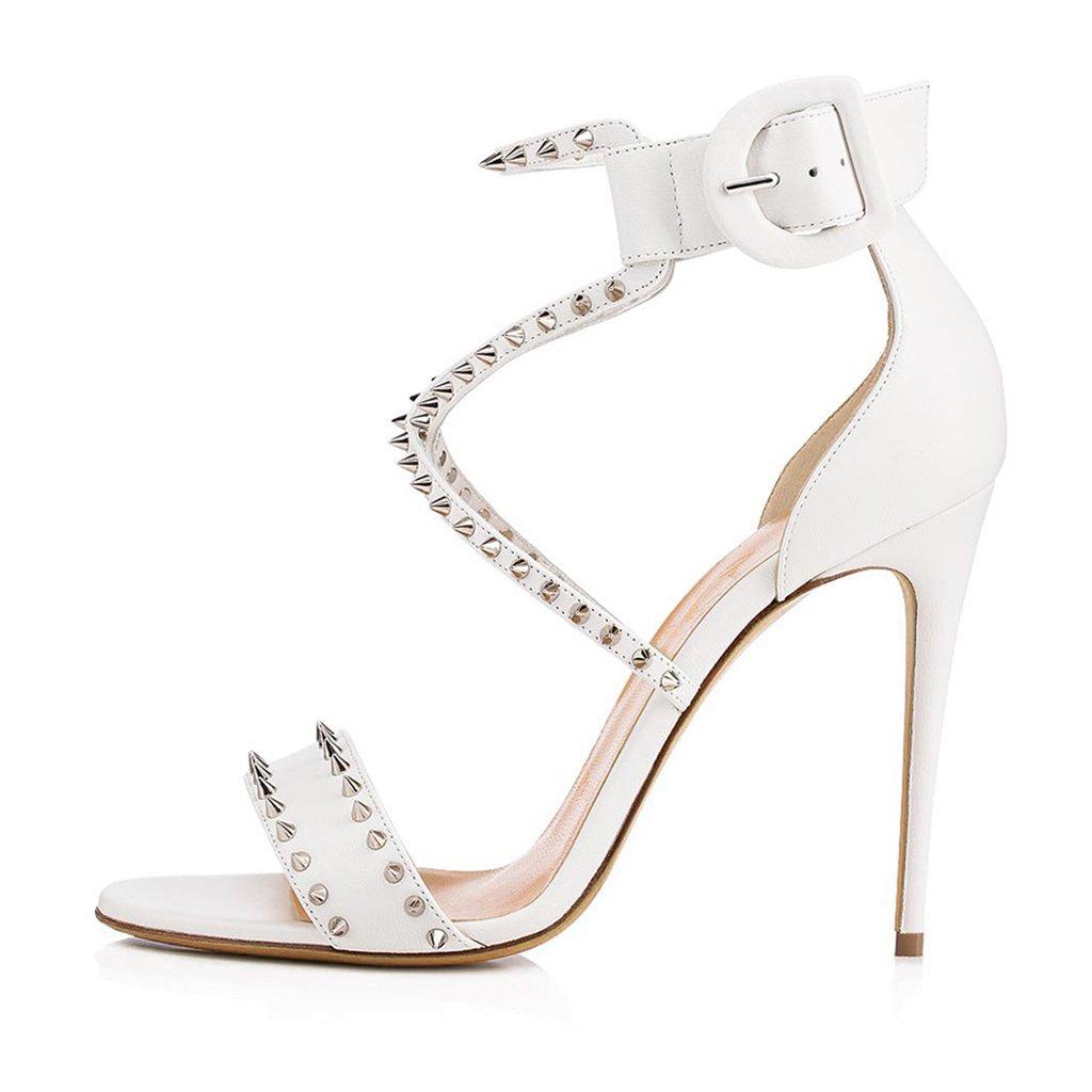 LYY.YY Sandalias De Remaches Blancos De Tacón Alto De Las Mujeres Zapatos De Moda Zapatos De Tacón Alto (Altura del Tacón:11-13CM),White,41 41|White