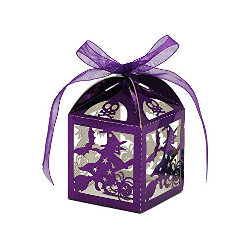 (50x Halloween Pattern Cut Out Toffee Candy Box Wedding Kid Party Gift Purple)