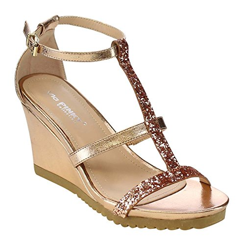 VIA PINKY AISLINN-02 Women's Lug Sole Wedges Dress Sandals Run Half Size Big, Color:CHAMPAGNE, Size:8 (Champagne Wedge Sandals)
