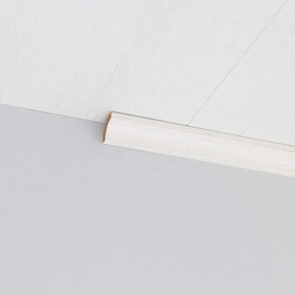 Hohlkehlleiste Abschlussleiste Abdeckleiste aus MDF in Struktur wei/ß 2600 x 24 x 24 mm
