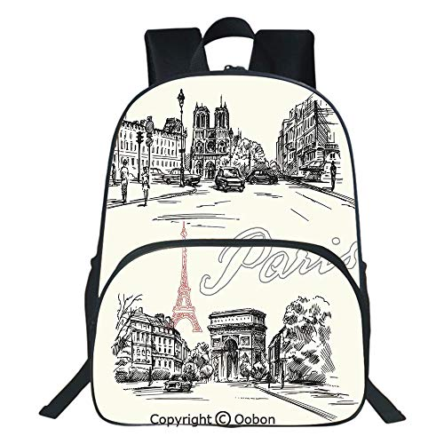 Oobon Kids Toddler School Waterproof 3D Cartoon Backpack, Arch of Triumph Restaurant Monument Old Fashioned Paris Street Sketch Style Art, Fits 14 Inch Laptop