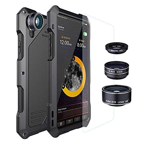 Jingangyu iPhone X case Waterproof Shockproof with 3 Lens,IP 54 Aluminum High Impact Resistant Rugged Armor Hybrid Full Body Protective case cover for iPhone X,Black