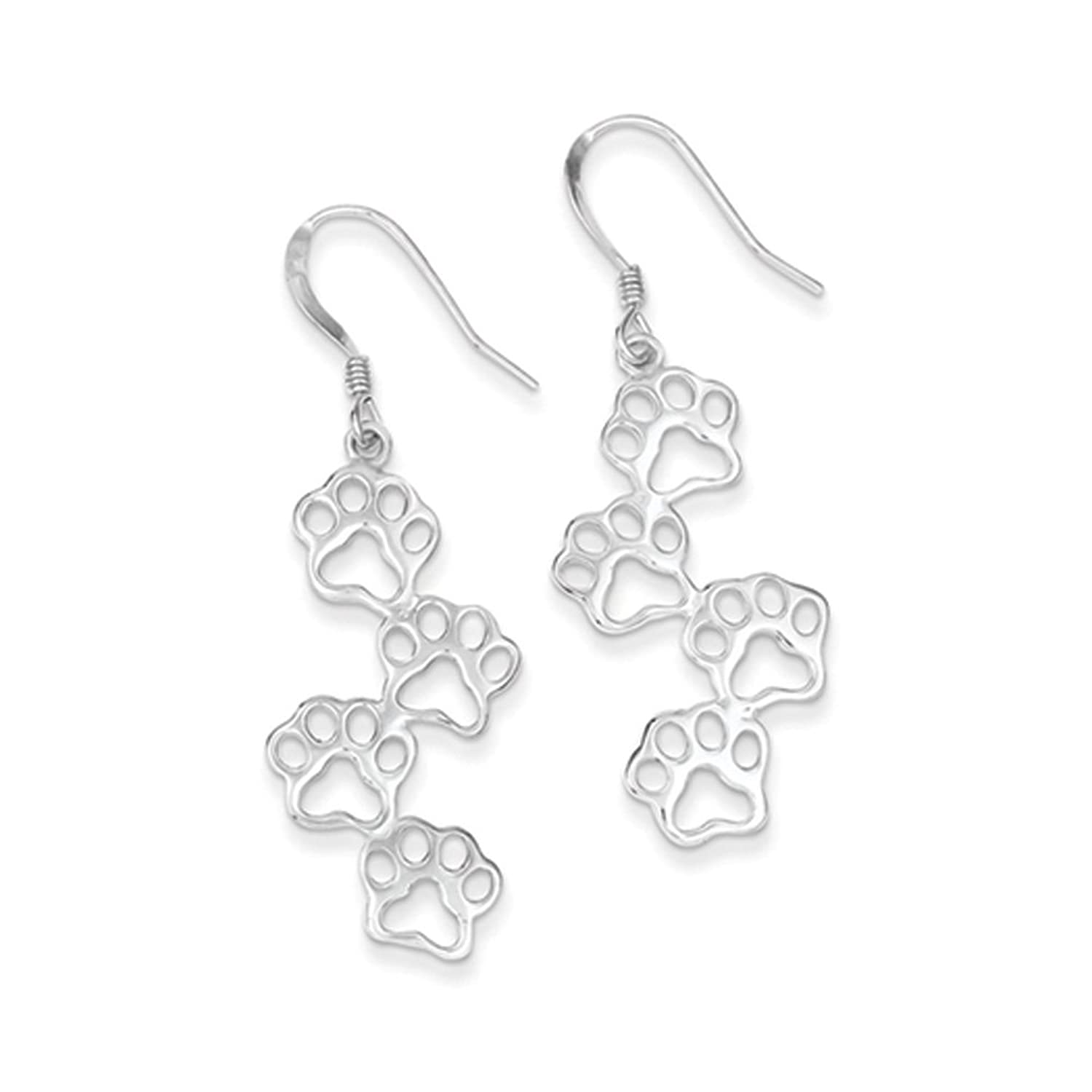 Polished Paw Prints Dangle Earrings in Sterling Silver