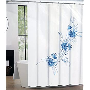 Tahari Fabric Shower Curtain Floral Pattern Blue Gray On White Martina