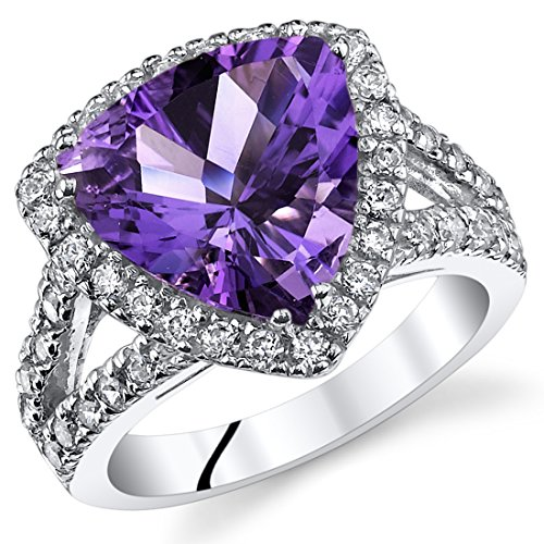 (3.75 Carats Trillion Cut Amethyst Cocktail Ring Sterling Silver Size 5)