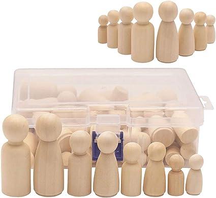 5//10x Solid Hard Wood Bodies Natural Unfinished Wooden Peg Dolls Kids Toys