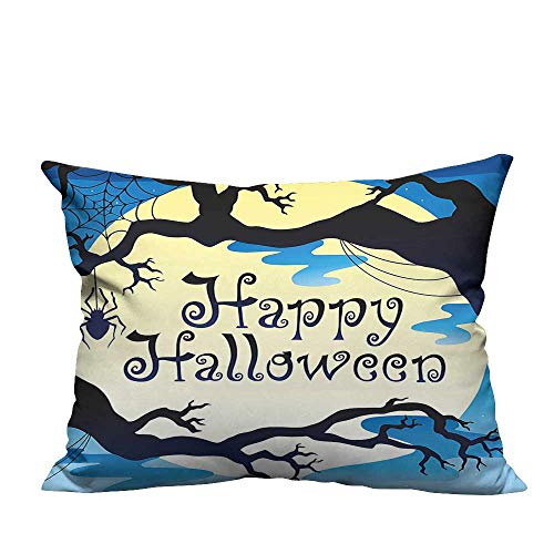 YouXianHome Decorative Throw Pillow Case Happy Halloween Quote Spooky Night Branch Shadows Haunted Lights Ideal Decoration(Double-Sided Printing) 19.5x60 inch -