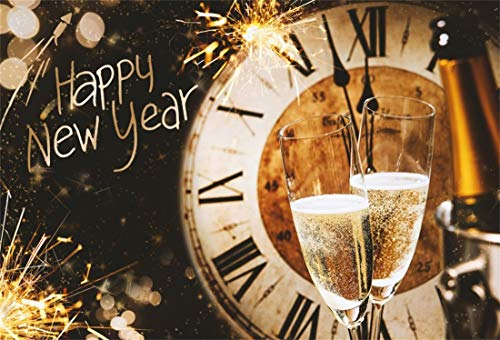 (Yeele 9x6ft New Year Photography Background Retro Clock Dial Countdown Champagne Fireworks Blurry Wine Bottle Glass Happy New Year Photo Backdrops Pictures Photoshoot)